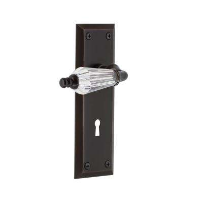 New York Plate with Keyhole 2-3/8 in. Backset Timeless Bronze Privacy Bed/Bath Parlor Lever