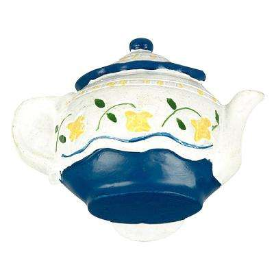 1-25/32 in. (45 mm) Eclectic Blue and White TeaPot Cabinet Knob