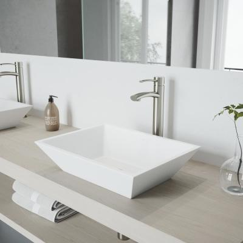 Milo Single Hole Single-Handle Vessel Bathroom Faucet in Brushed Nickel