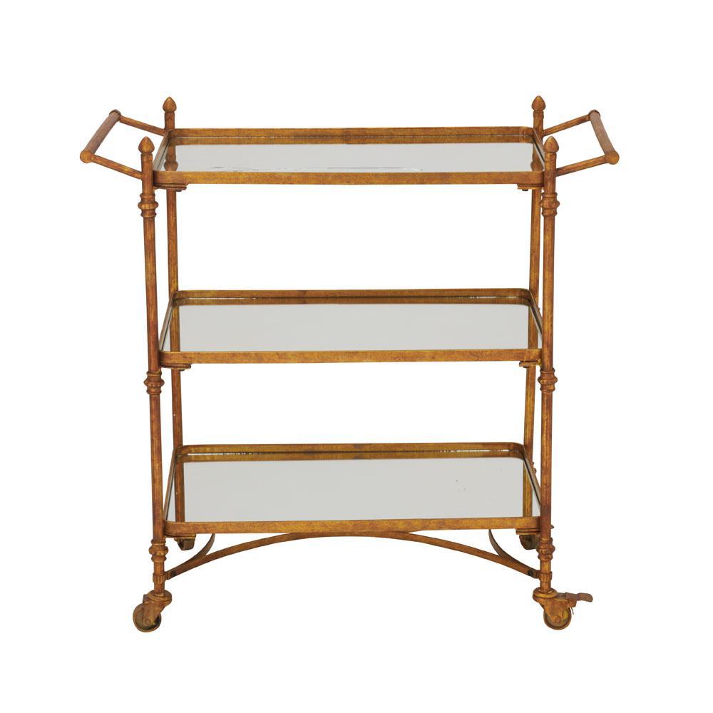 Brass Gold and Reflective Mirror 2-Tier Bar Cart