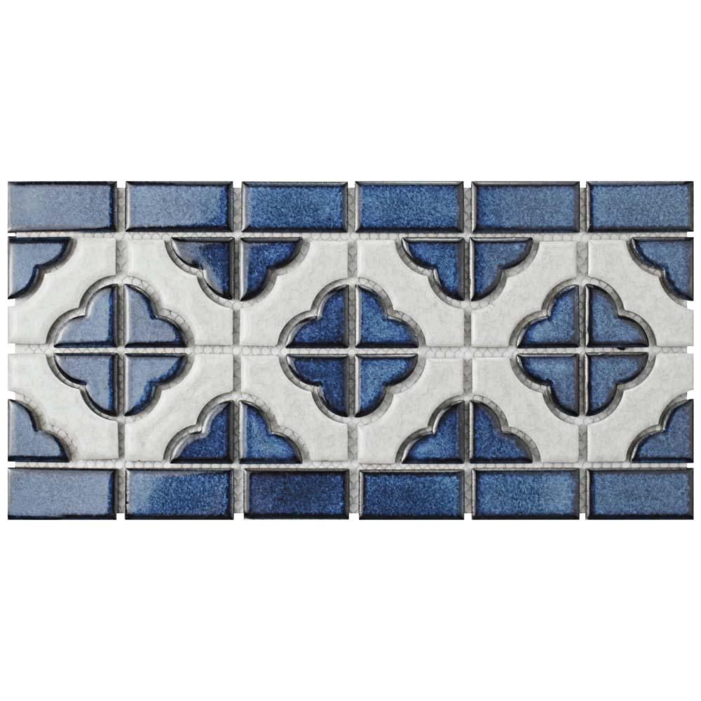 6x12 tile flooring the home depot palace cobalt with white border 5 34 in x 11 3 dailygadgetfo Choice Image