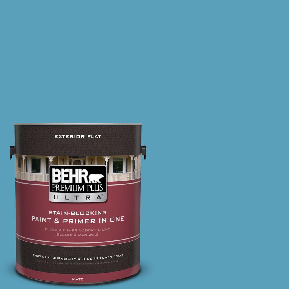 BEHR Premium Plus Ultra 1-gal. #540D-5 Tropical Splash Flat Exterior Paint