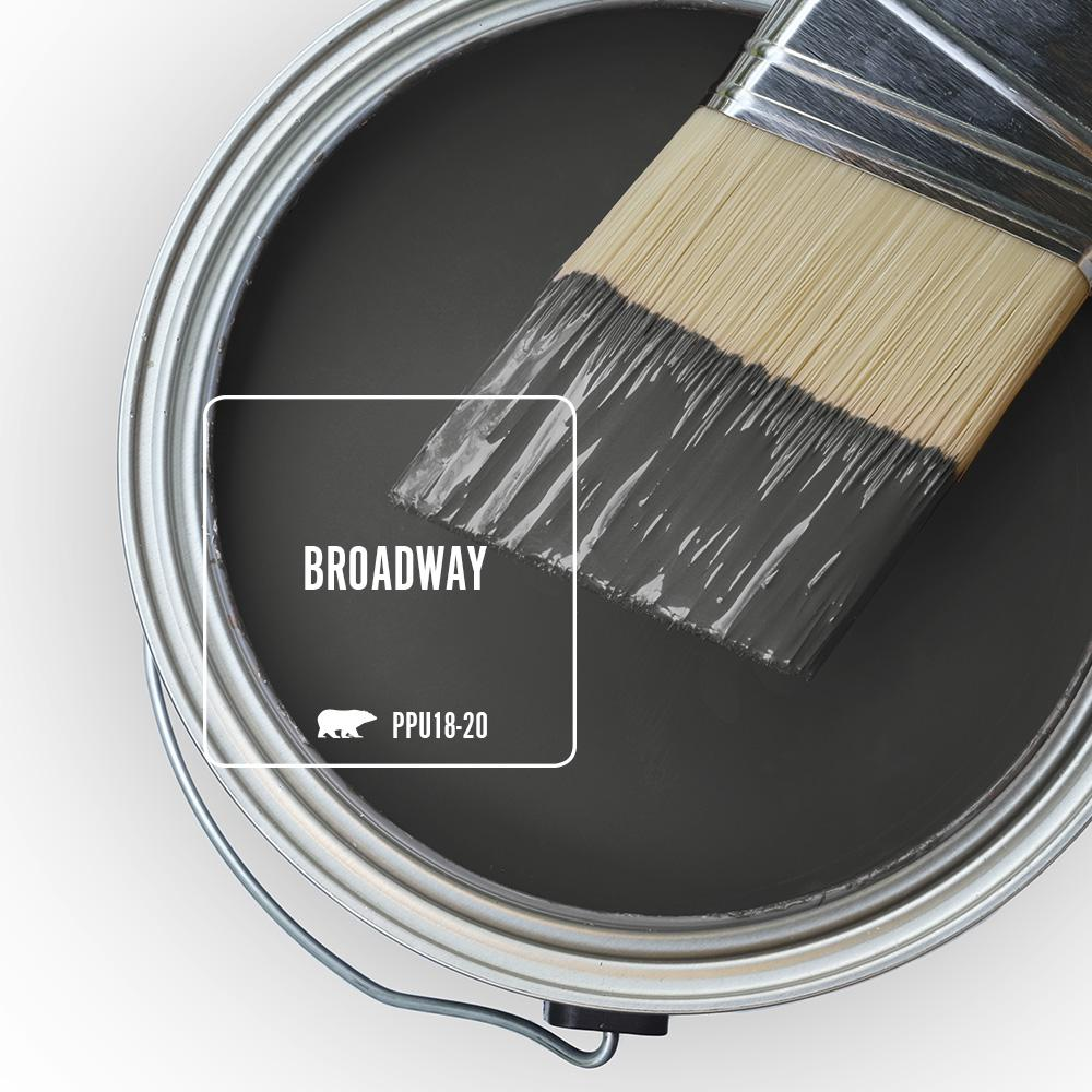 Behr Broadway is a brown-black, urban sort of deep bronze paint color. Discover inspiring understated neutrals to try in your own home. #behrbroadway #paintcolors