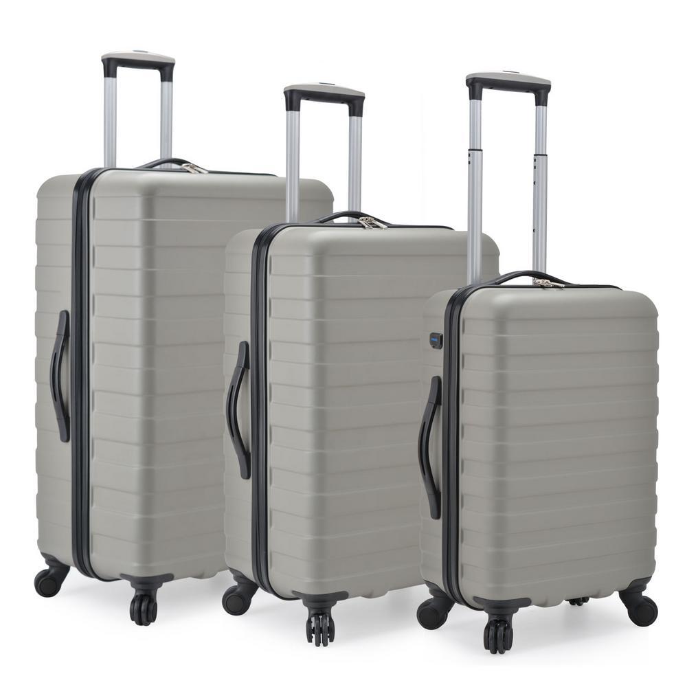 Bondi 3-Piece Gray Spinner Luggage with Smart USB Port
