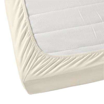 Organic Cotton Wrinkle Resistant Cream King Fitted Sheet Extra Deep Pockets