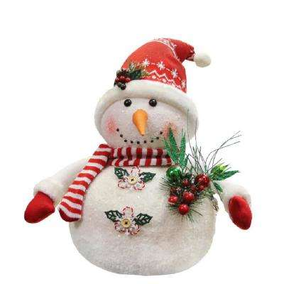 20 in. Alpine Chic Sparkling Snowman with Nordic Style Santa Hat Christmas Decoration
