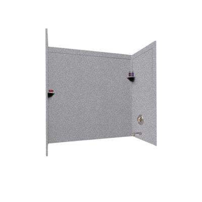 33.5 in. x 60 in. x 60 in. 3-Piece Easy Up Adhesive Alcove Tub SurroundPanels in Gray Granite