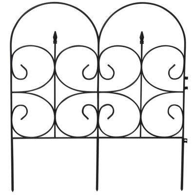 Victorian Black Resin Fleur De Lis Large 32 in. Fence Garden Fencing (6-Pack)