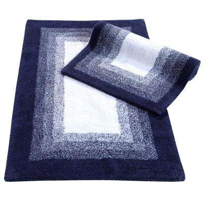 Whitney Ombre Reversible Deep Denim 21 in. x 34 in. 2-Piece Bath Rug Set