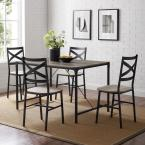 5-Piece Grey Wash Angle Iron Dining Set with X-Back Chairs