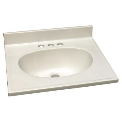 19 in. W x 17 in. D Cultured Marble Vanity Top in White on White with White on White Basin and 4 in. Faucet Spread
