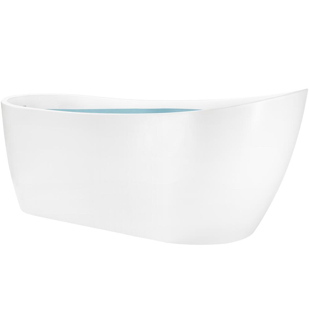 AKDY 59 in. Acrylic Center Drain Oval Slipper Flatbottom Freestanding Bathtub in Glossy White was $1149.0 now $599.99 (48.0% off)