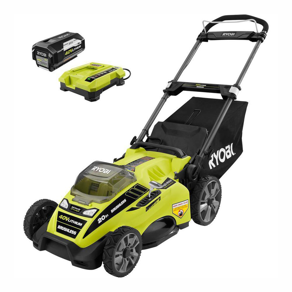 RYOBI 20 in  40-Volt Brushless Lithium-Ion Cordless Battery Walk Behind  Push Lawn Mower 5 0 Ah Battery/Charger Included