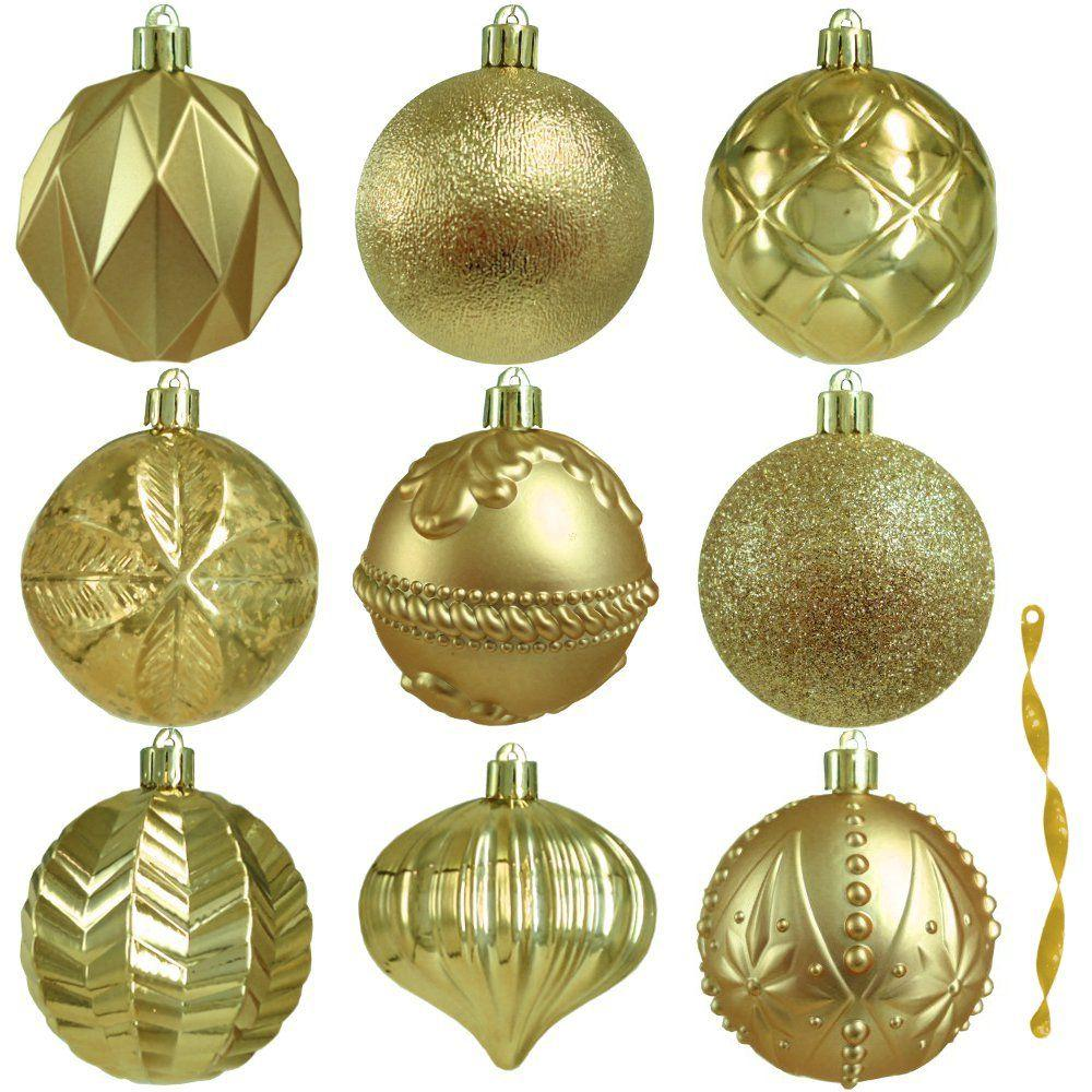 Home Accents Holiday 80 mm Assortment Ornament in Gold (75-Count)