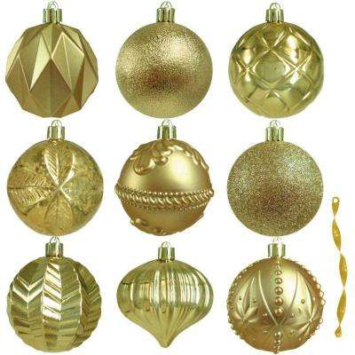 80 mm assortment ornament in gold 75 count - Gold Christmas Decorations
