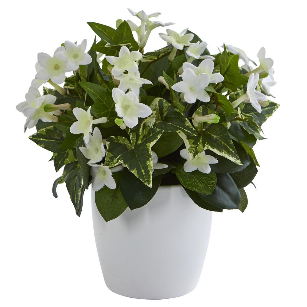 Nearly Natural Stephanotis Artificial Plant In White Vase 6413 The