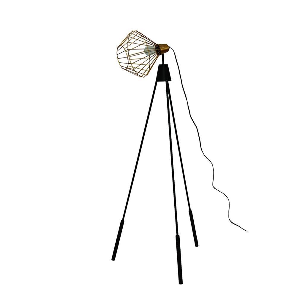 Elington 64 in. Brass and Black Floor Lamp