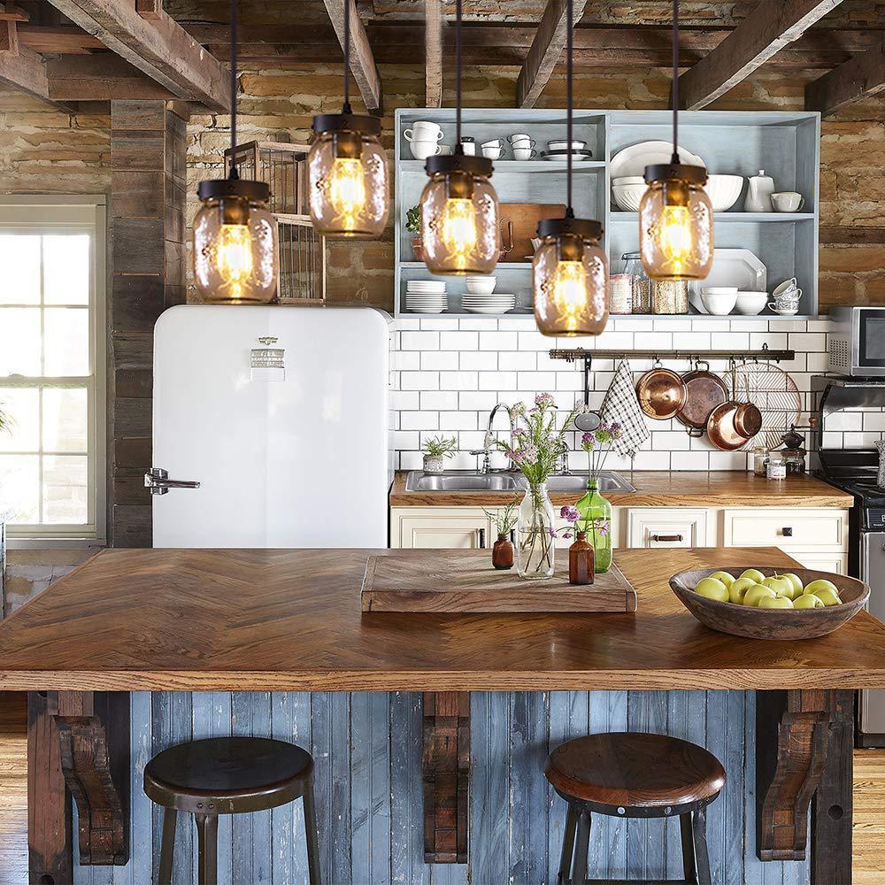 Casainc 5 Light Farmhouse Kitchen Island Lighting With Clear Glass Mason Jar Xd Wood 003 The Home Depot