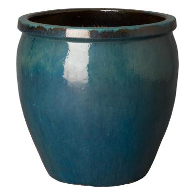26 in. Dia Round Teal Ceramic Planter