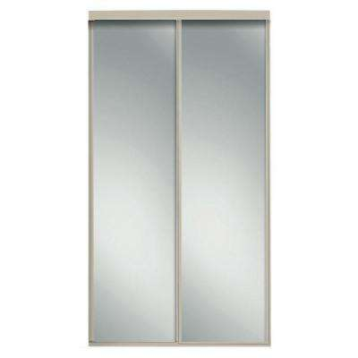 96 in. x 81 in. Concord Brushed Nickel Mirrored Aluminum Frame Interior Sliding Door