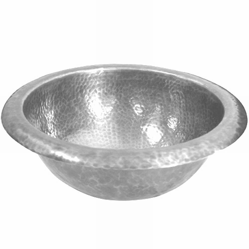 Hammerwerks Baby Round Drop-In Copper Lavatory Sink in Pewter