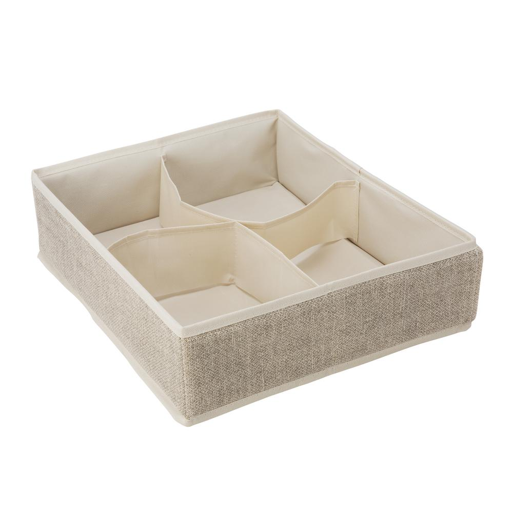 Simplify 14 in. x 12 in. x 4 in. 4 Compartment Faux Jute Drawer Organizer