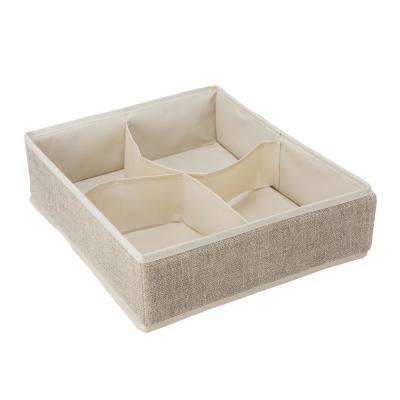 14 in. x 12 in. x 4 in. 4 Compartment Faux Jute Drawer Organizer