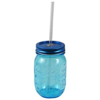 Redneck 16 oz. Blue Ball Mason Sipper Drinking Jar Authentic with Heritage Reusable Acrylic Straw