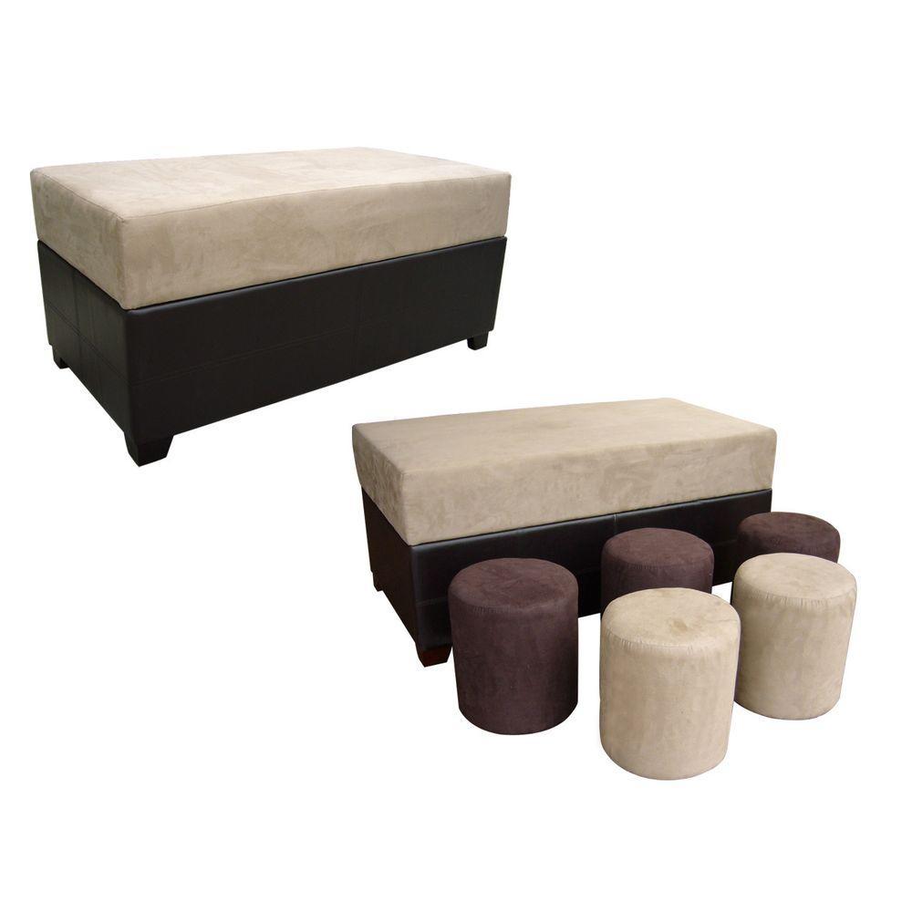 Beige U0026 Black Ottoman Bench