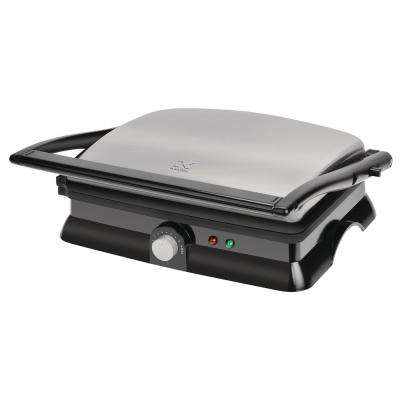 1400 W Black Stainless Steel Panini Press with Temperature Control