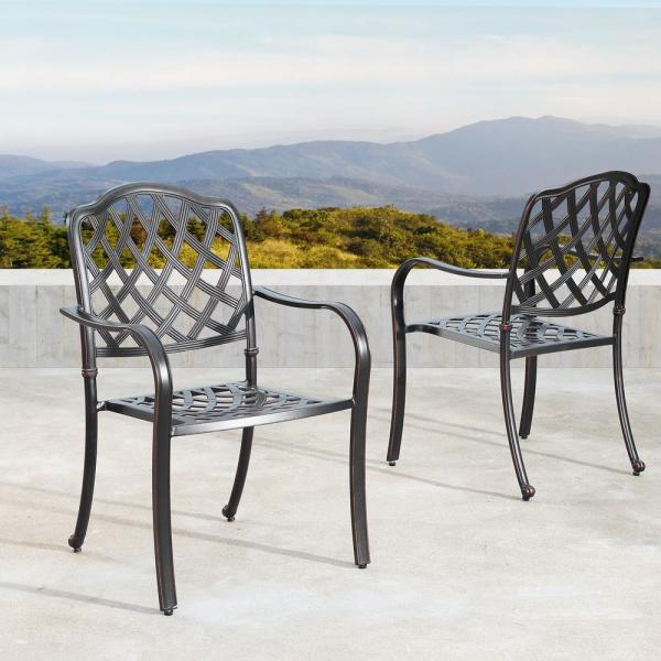 Oakland Living Contemporary Modern Stackable Mesh Lattice Aluminum Outdoor Dining Chair In Antique Copper Set Of 4 Hdkenya 4chair Ac The Home Depot