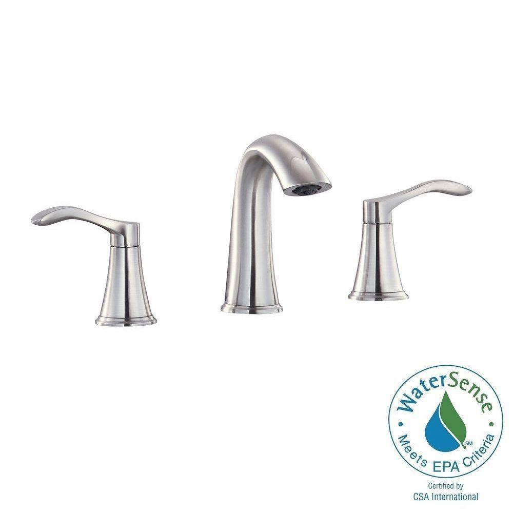 Mizuchi 8 in. Widespread 2-Handle Mid-Arc Bathroom Faucet in Brushed Nickel