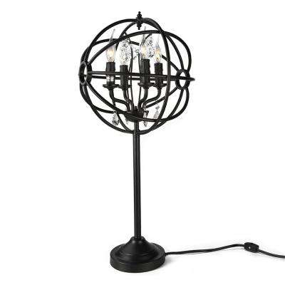 26 in. Black Indoor Table Lamp with Sphere Shade