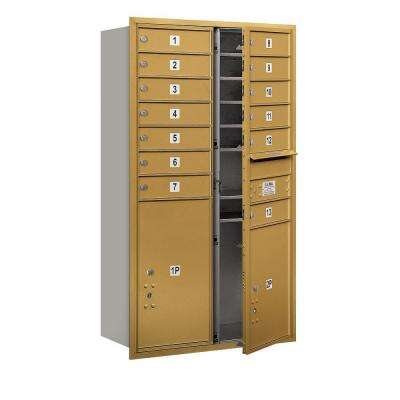48 in. H x 31-1/8 in. W Gold Front Loading 4C Horizontal Mailbox with 13 MB1 Doors/1 PL5/1 PL6