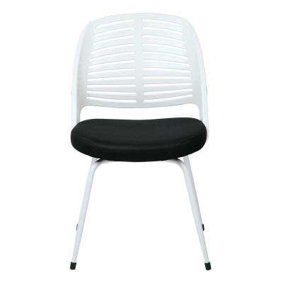 Tyler Black Fabric Visitor Chair with White Frame