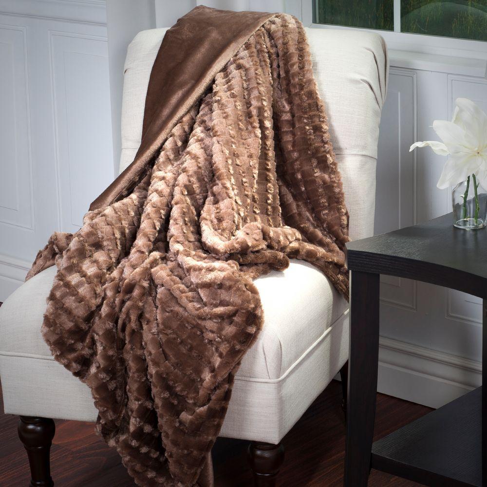 Brown Plush Striped Embossed Faux Fur Mink Throw