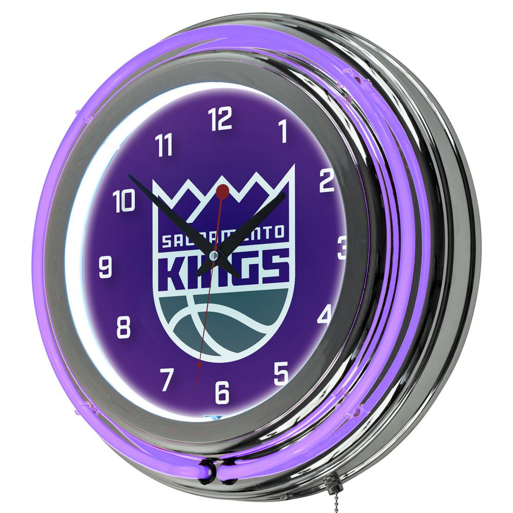 14 in. Sacramento Kings NBA Chrome Double Ring Neon Wall Clock