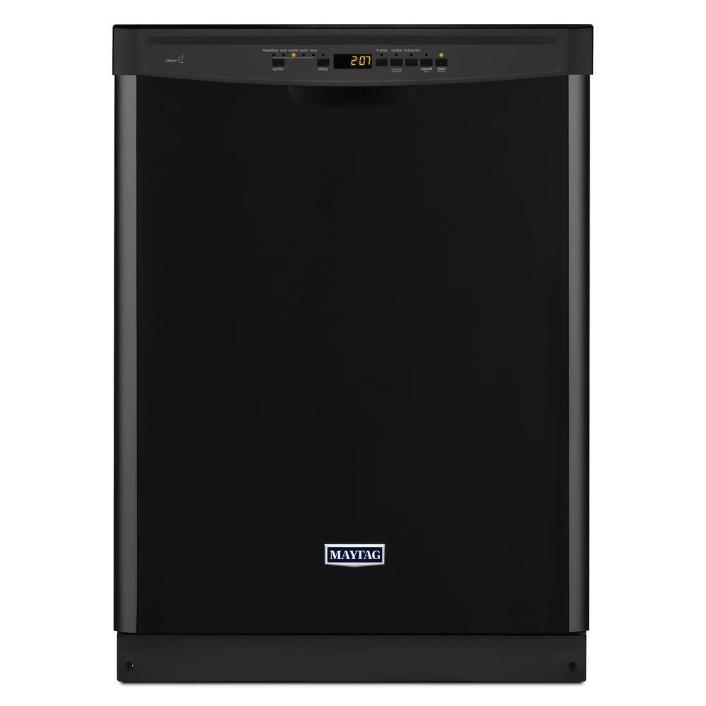 Front Control Dishwasher in Black with Stainless Steel Tub and Steam