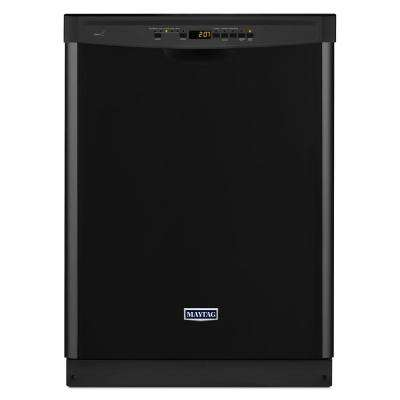 Front Control Dishwasher in Black with Stainless Steel Tub and Steam Cleaning