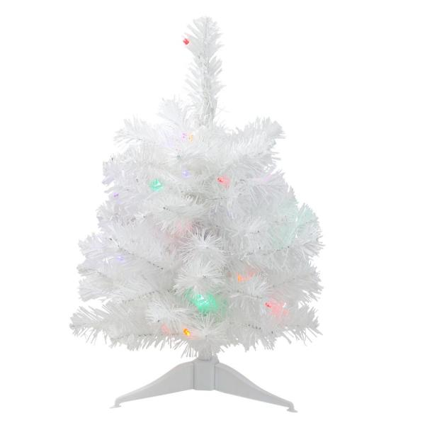18 in. Pre-Lit LED Snow White Artificial Christmas Tree with Multi-Color Lights