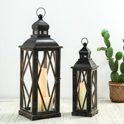 Black Farmhouse Wooden Lanterns With Diamond Window Frame (Set of 2)