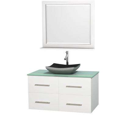 Centra 42 in. Vanity in White with Glass Vanity Top in Green, Black Granite Sink and 36 in. Mirror