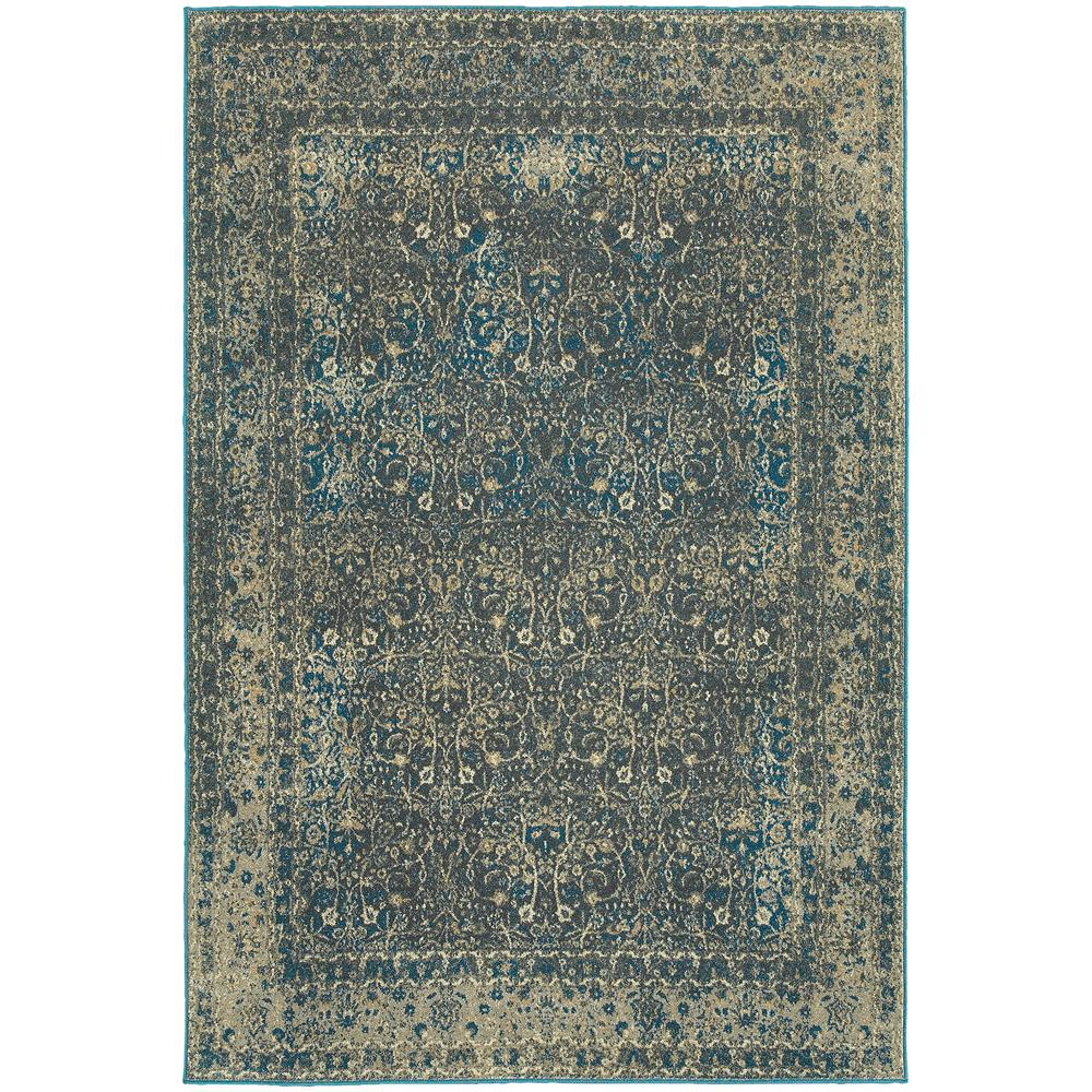 Cavalier Grey/Teal (Grey/Blue) 5 ft. 3 in. x 7 ft. 6 in. Area Rug