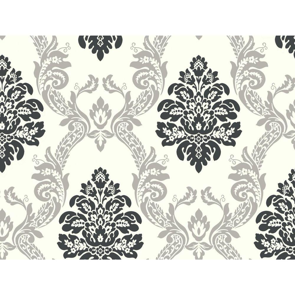 York Wallcoverings Black And White Ogee Damask Wallpaper