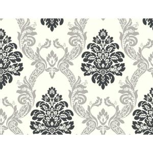 York Wallcoverings Black and White Ogee Damask Wallpaper by York Wallcoverings
