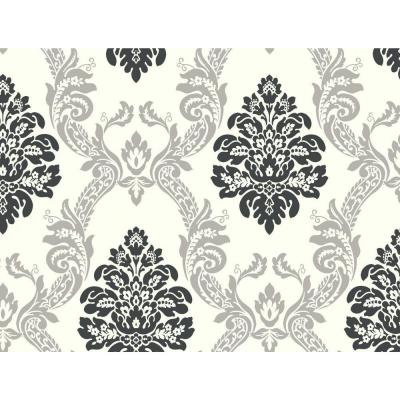 Black and White Ogee Damask Wallpaper
