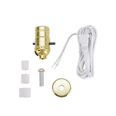 Polished Brass Make-A-Bottle Lamp Push Through Socket Kit (1-Pack)