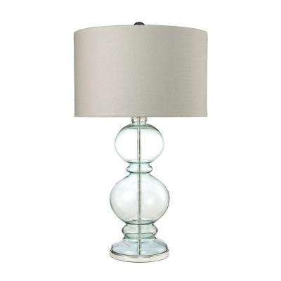 32 in. Light Blue Curvy Glass Table Lamp with Textured Linen Shade