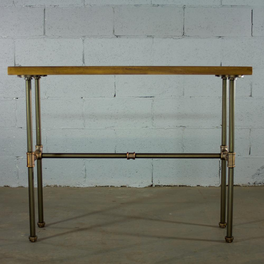 Os home and office furniture brushed brass industrial pipe console sofa hall table with reclaimed aged