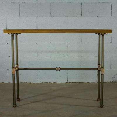 Brushed Brass Industrial Pipe Console Sofa Hall Table with Reclaimed Aged Wood